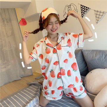 20019 Season Sweet And Lovely Fruit Big Strawberry Pajamas Set To Send Eye Mask Home Service Female 20019 Season Sweet And Lovely Fruit Big Strawberry Pajamas Set To Send...