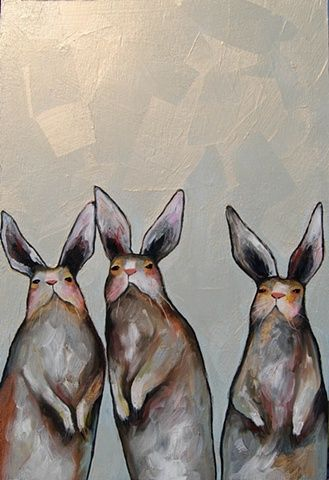 "Three Standing Rabbits in Iridescent Orange Cream Sky 2011 @ Eli Halpin oil on recycled wood 17.75"" x 26.5"""