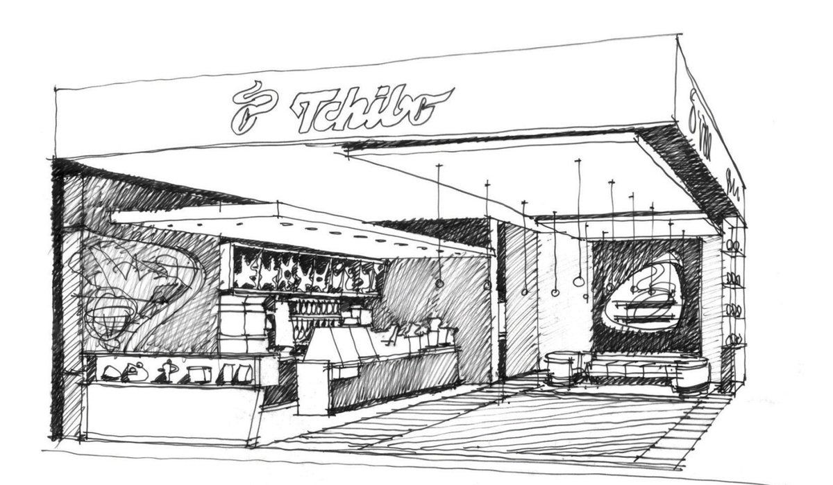 Cafe drawing interior - Interiors