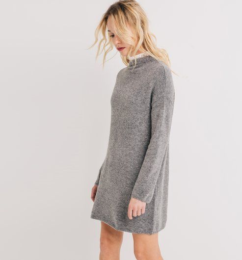 5a8e9e986cc9f Robe pull Femme gris clair - Promod | Winter Style | Robe pull femme ...