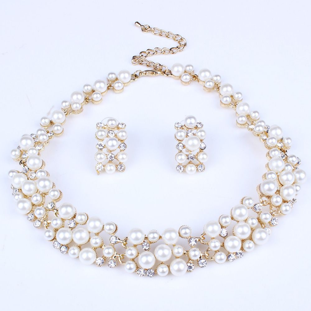 new fashion jewelry set necklace statement stud earrings women
