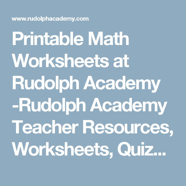 Printable Math Worksheets at Rudolph Academy -Rudolph Academy ...