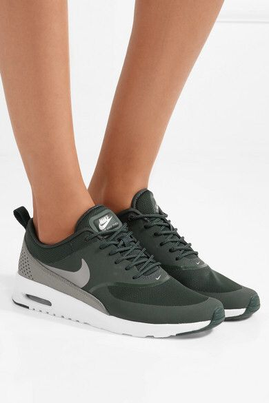 Nike - Air Max Thea Croc-effect Leather-trimmed Mesh Sneakers - Emerald e0f81cab4