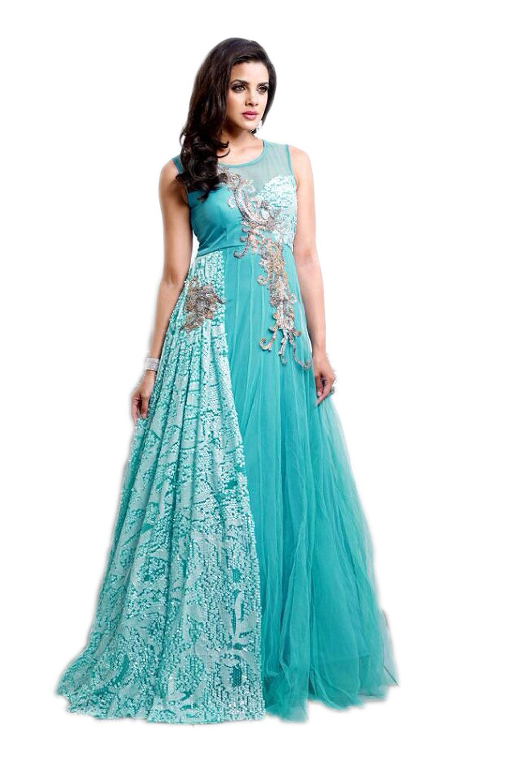 79aa2bab5e5a J and J fashion Women s Net Gown - Blue  Amazon.in  Clothing   Accessories