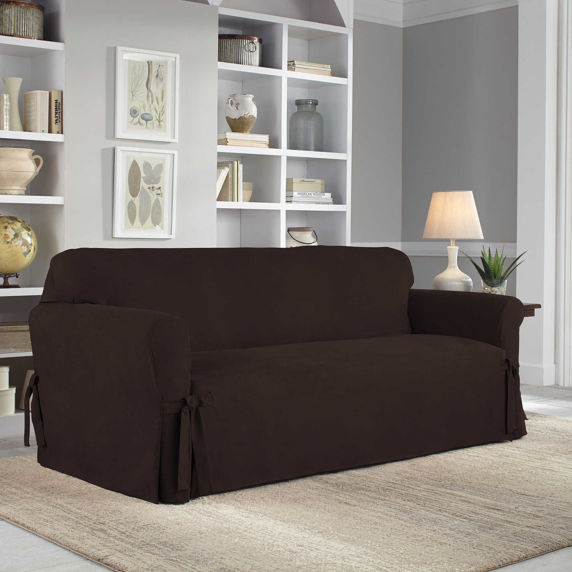 Perfect Fit Smooth Suede Relaxed Fit Sofa Slipcover