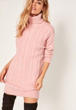 dd924f432320 Pink Brushed Cable Knitted Roll Neck Jumper Dress | Fashion | Roll ...