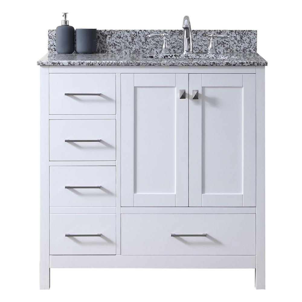 Virtu Usa Caroline Madison 36 In W Bath Vanity In White With Granite Vanity Top In Arctic White Granite With Round Basin Gs 28036l Awro Wh Nm Granite Vanity Tops White Granite White Vanity Bathroom