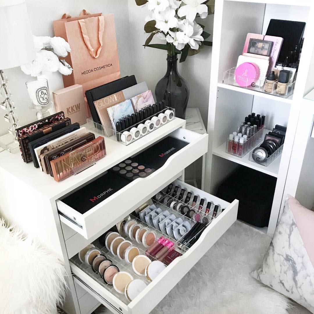 Saturday Shuffle Brought My Ikea Alex 6 Drawer Unit Together With My Ikea Kallax Shelf As Much As I Beauty Room Design Beauty Room Makeup Organization