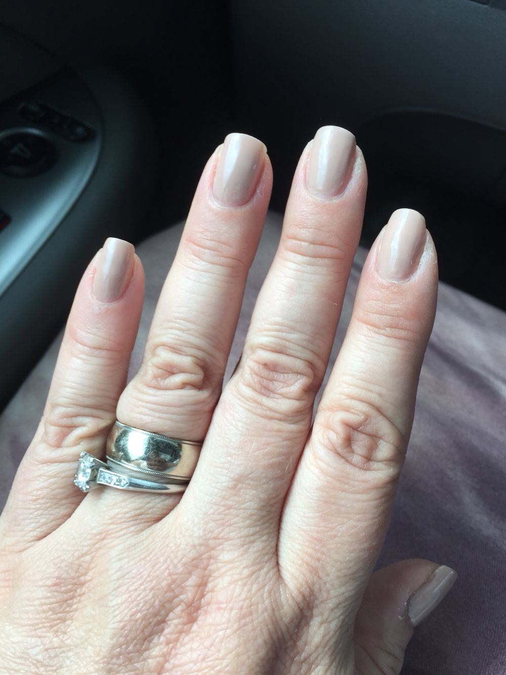 Perfect nude manicure for me (Revlon grey suede)