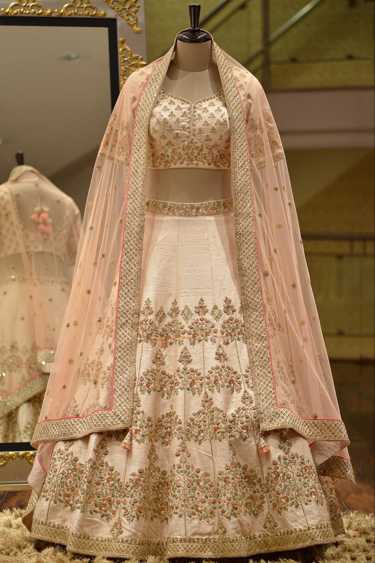 Raw silk wedding dress  Cream Zari Woven Raw Silk Bridal LehengaVL  catch up next