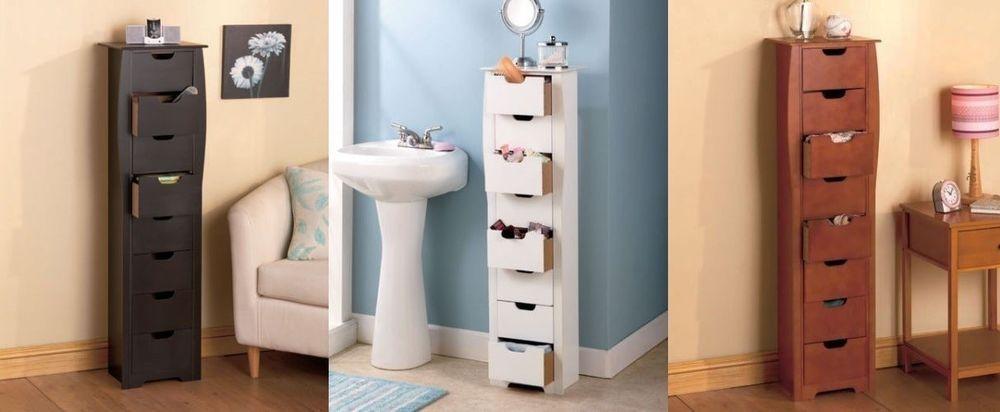 Dresser Space Saving Storage Cabinet Wooden Bathroom