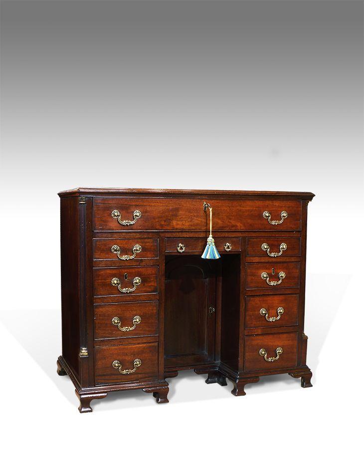 Georgian kneehole desk, mahogany knee hole desk, small antique desk, antique  kneehole desk - Bureau and Secretaire - Georgian Kneehole Desk Georgian, Desks And Antique Desk