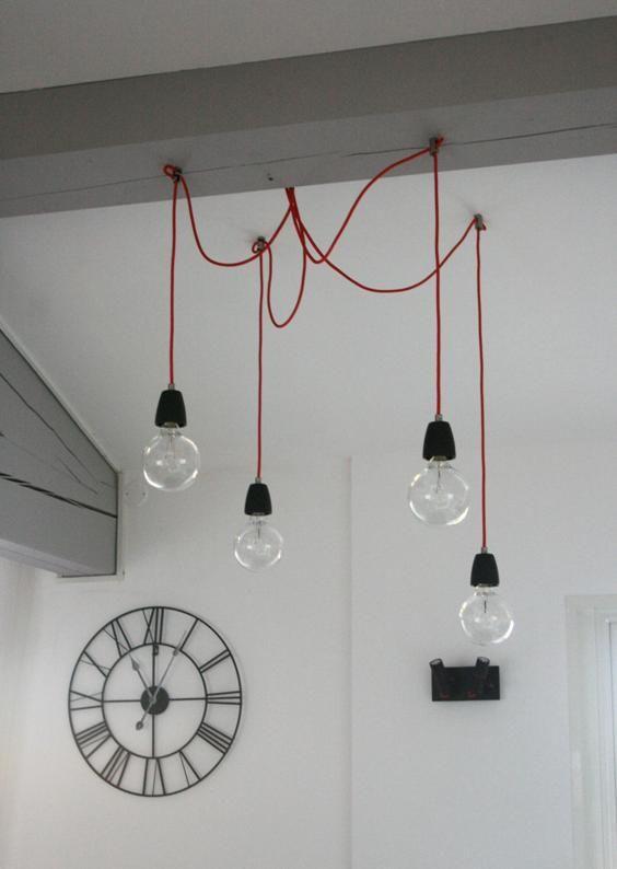 Lustre Noir-Doré textile de plafond Lampe Pendule chambre éclairage