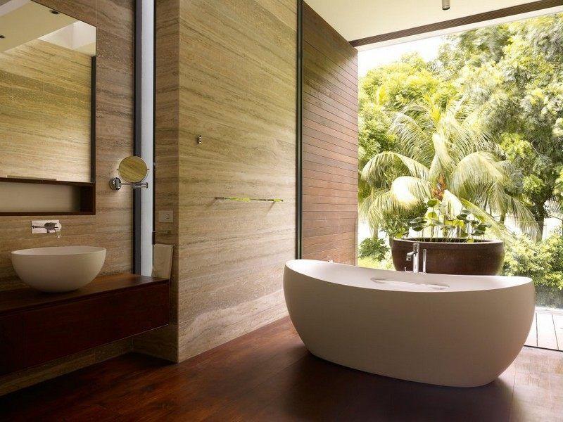inspiration salle de bain esprit nature avec baignoire ilot ovale et accents en pierre et bois - Salle De Bain Baignoire Ilot