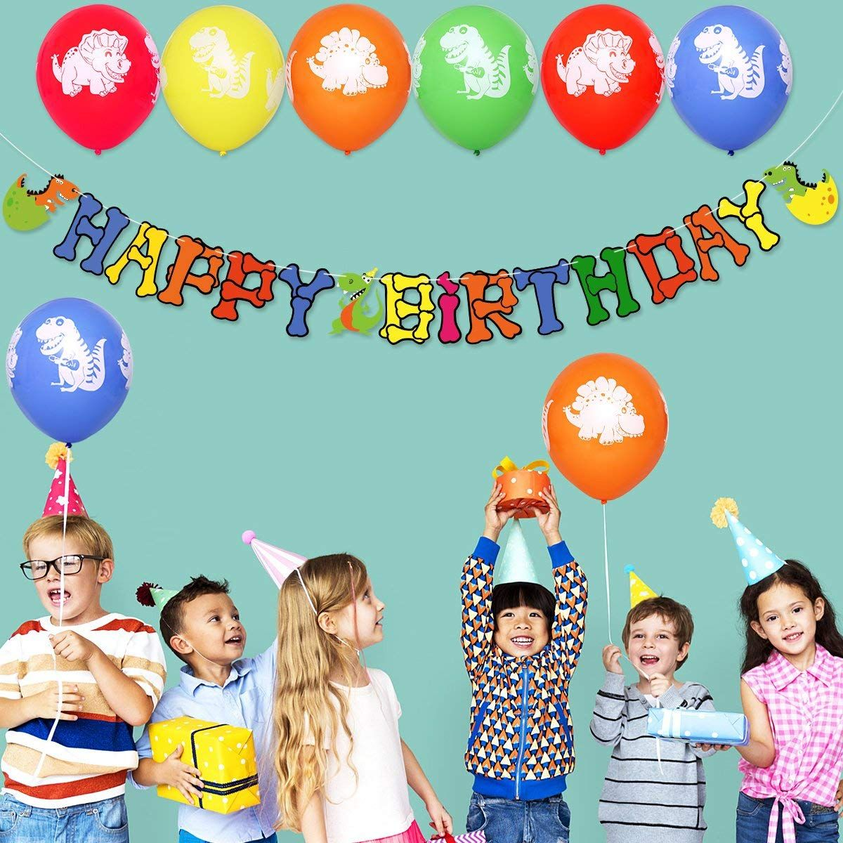 999 Amazon Unomor Happy Birthday Decorations Supplies Dinosaur Balloons 24 PCS With Banner For And