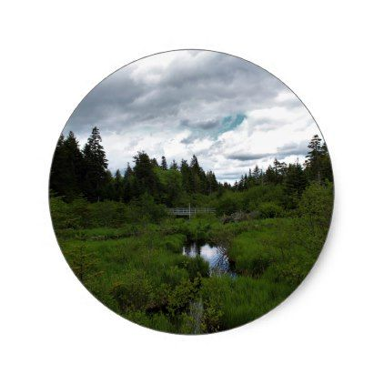 Caribou Plains Bridge Classic Round Sticker - photography gifts diy custom unique special