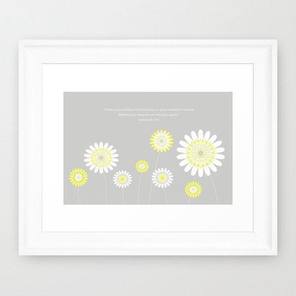 Customizable Children's Nursery Artwork in Yellow & Gray Flowers by wildflowersofgrace on Etsy