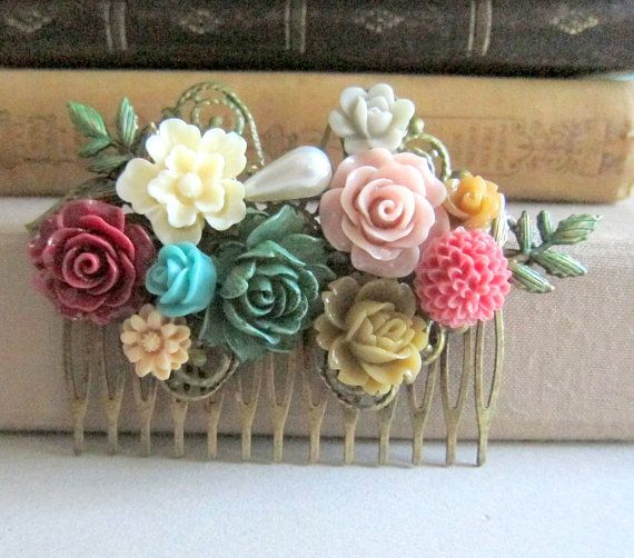 Jewelsalem -- Autumn Wedding Hair Comb Floral Bridal Flower Head Piece Maroon Dark Green Brown Wine Red Beige Olive Fall Colors Shabby Chic Bridesmaid