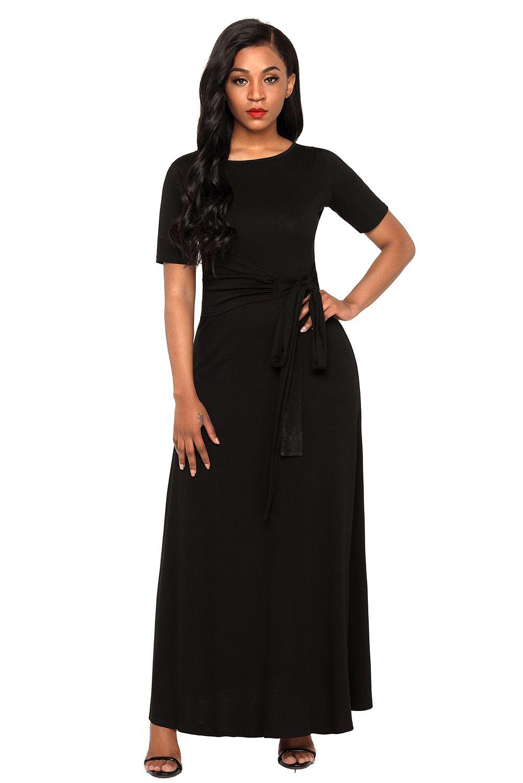 Black Gather Waist A Line Wrap Maxi Dress Maxi Dress Maxi Wrap Dress Maxi Tshirt Dress [ 1500 x 1001 Pixel ]