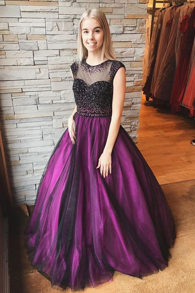 Round Neck Cap Sleeves Beaded Long Purple Prom Dress, Cap
