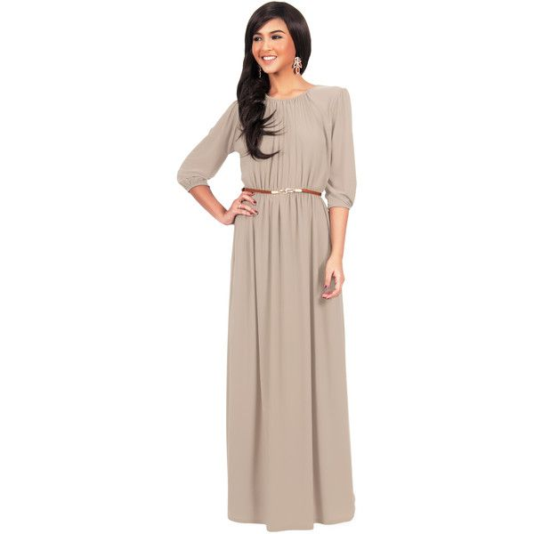 36442cd9a9 Koh Koh Brown Round Neck 3 4 Sleeve Empire Waist Elegant Long Maxi... (125  BAM) ❤ liked on Polyvore featuring dresses