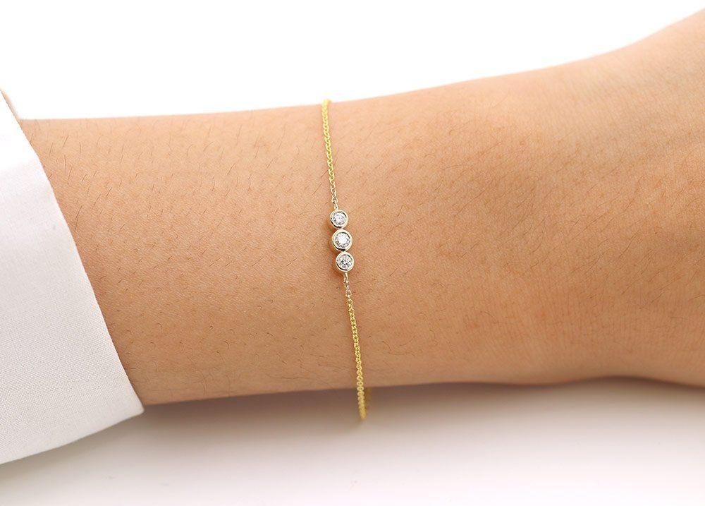 3 Stone Diamond Bracelet 3 Diamond Bezel Bracelet Women S Etsy Bezel Diamond Bezel Bracelet Yellow Gold Bracelet