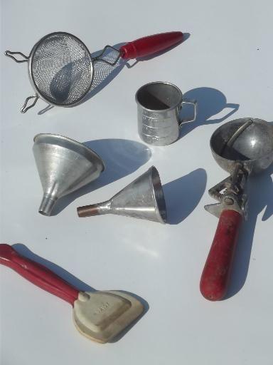 vintage kitchen utensils w painted wood handles red plastic bakelite vintage kitchen on farmhouse kitchen utensils id=52283