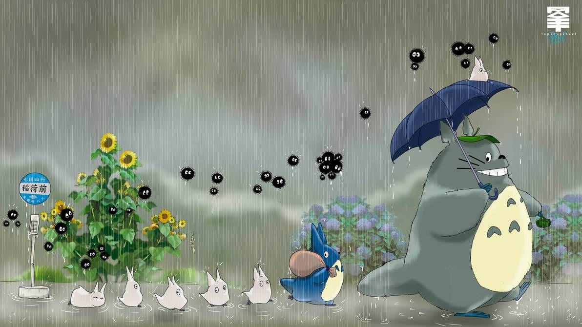Totoro Rain Wallpaper by lapizypincel on DeviantArt in