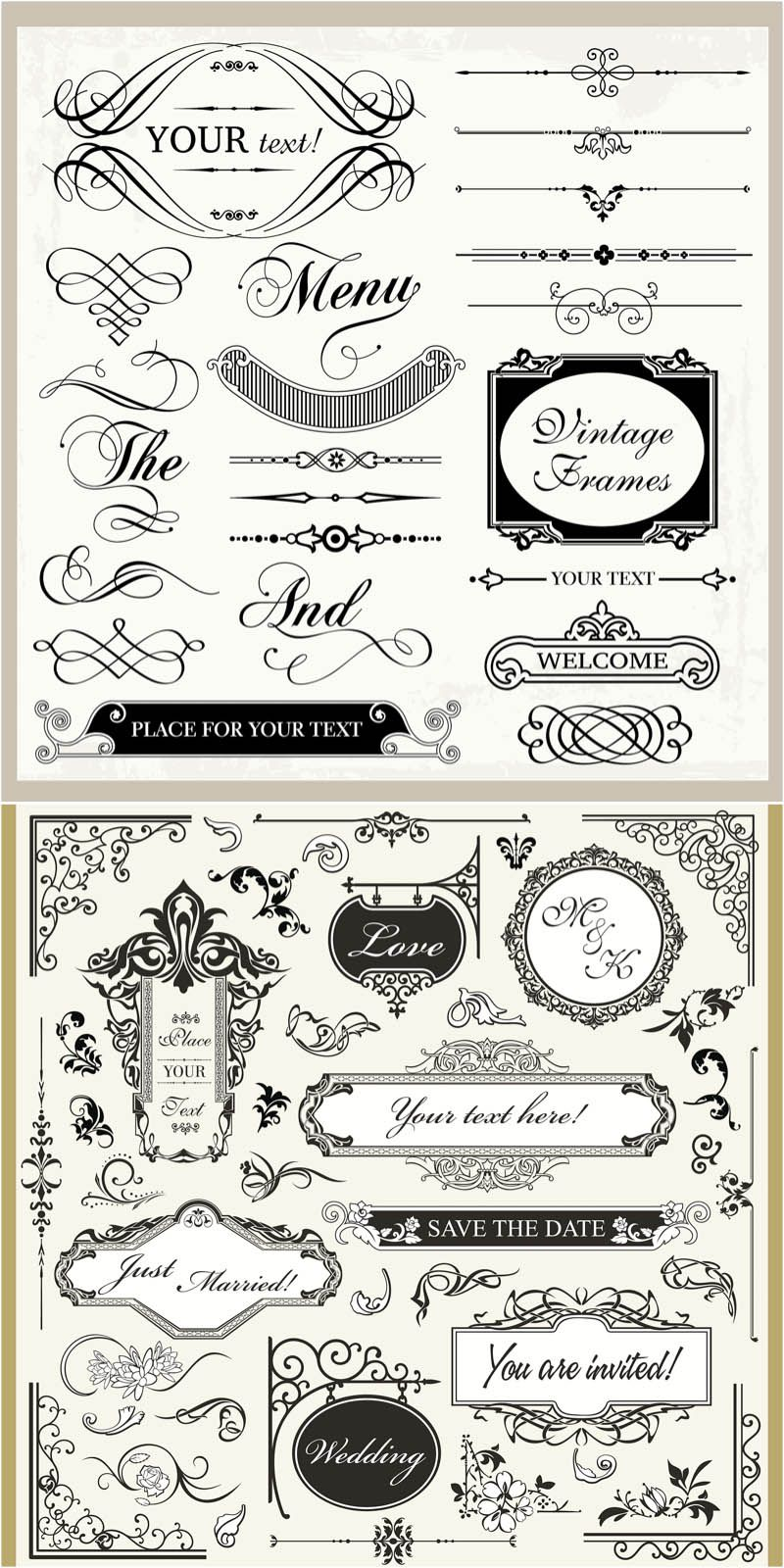 Vintage wedding ornaments vector wedding inspiration pinterest vintage wedding ornaments vector junglespirit Images