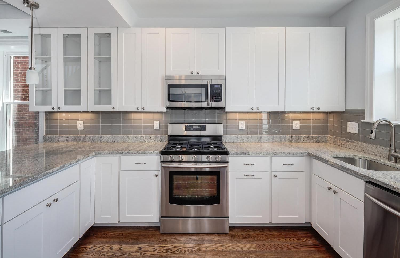- Kitchen, White Cabinets Grey Backsplash Kitchen Kitchen Cabinets  Traditional An… Grey Subway Tile Kitchen, Backsplash For White Cabinets, Kitchen  Tiles Backsplash