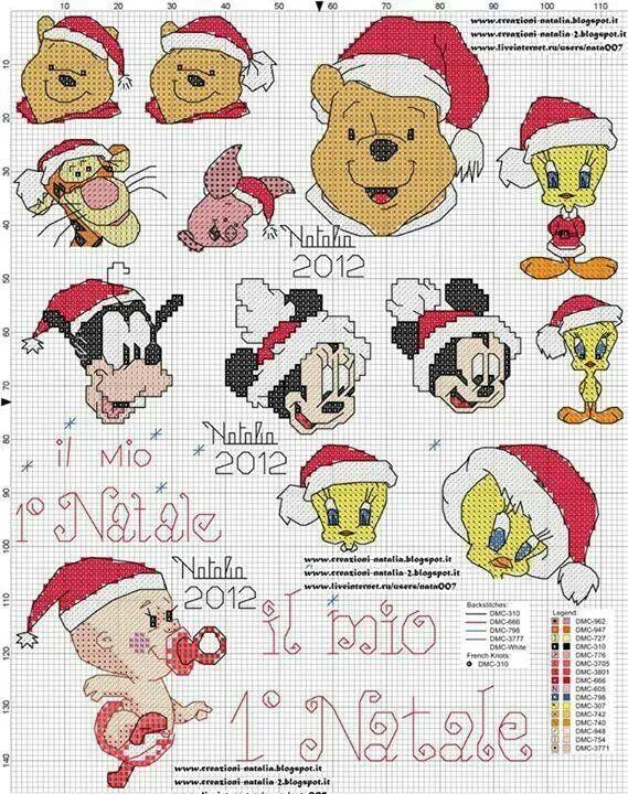 Disney Christmas Cross Stitch Minnie Bavaglino Punto