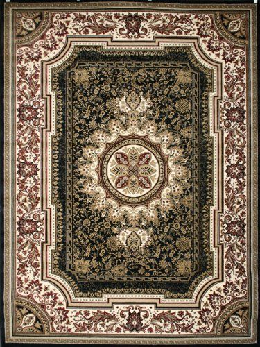 Black Traditional French Fl Wool Persian Area Rugs 5 2 X 7 3 Feraghan