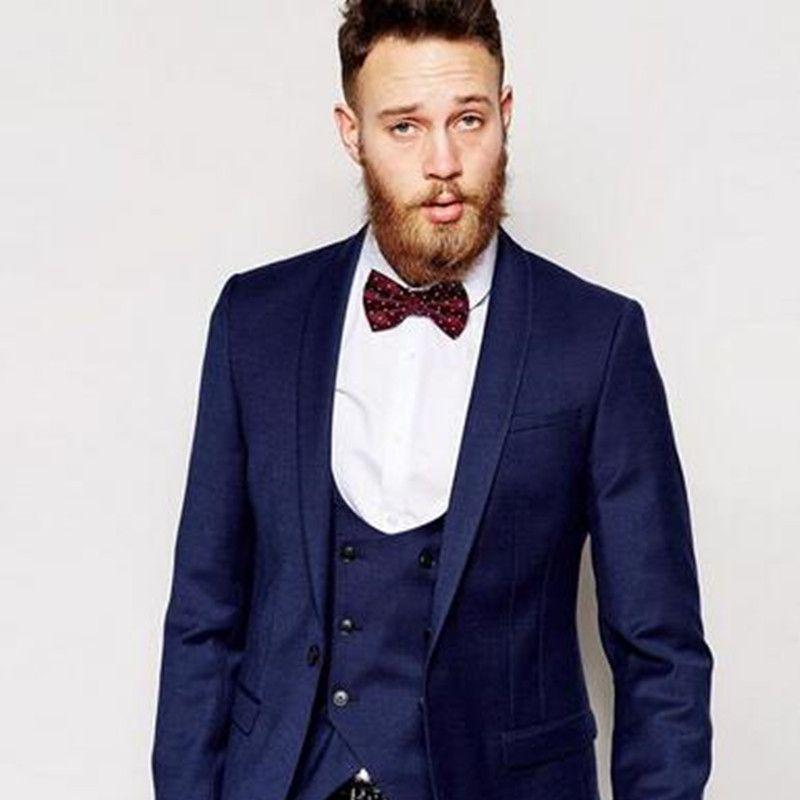 Center Vent Groomsmen Shawl Lapel Groom Tuxedos Dark Blue Men Suit ...