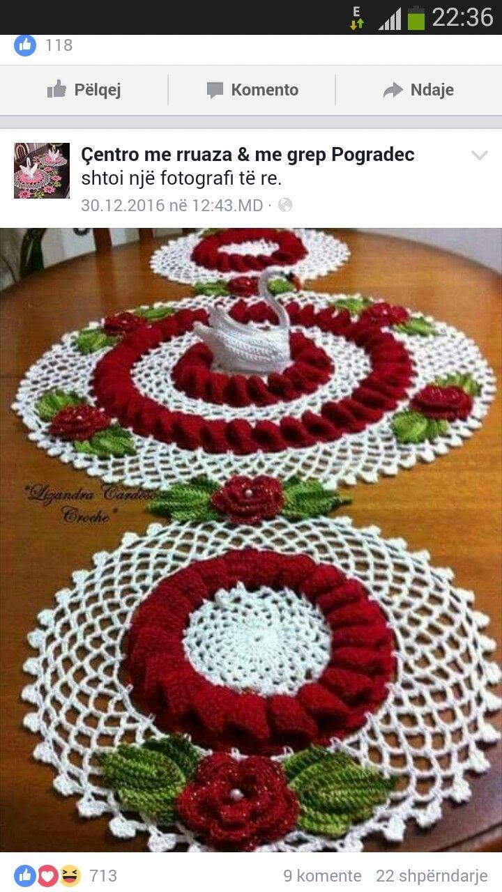 Bonito Crochet Patrón De Flores Paño De Cocina Festooning - Manta de ...