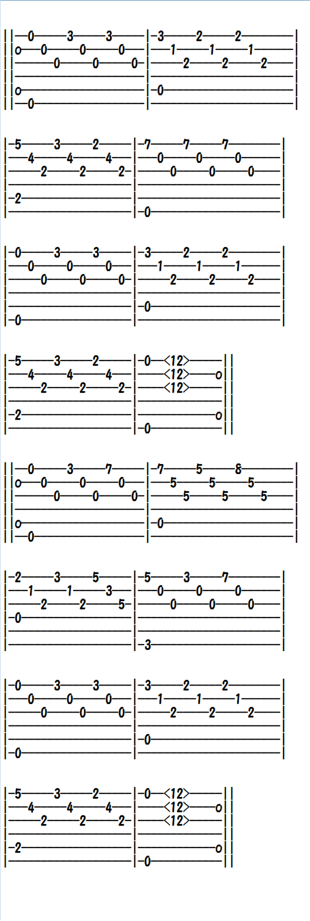 Easy Classical Guitar Sheet Music Tabs Etude In E Minor Guitar