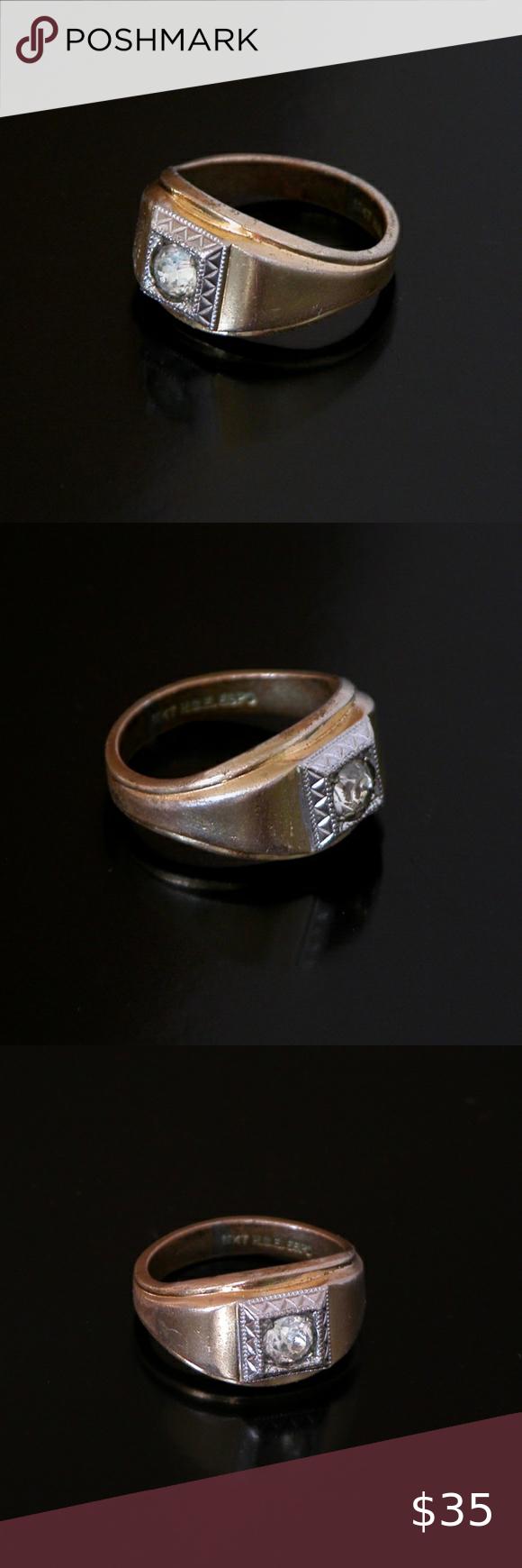 Vtg 18k H G E Espo Grandpa S Gold Ring Cubic Zirc Mens Accessories Jewelry Gold Rings Rings For Men