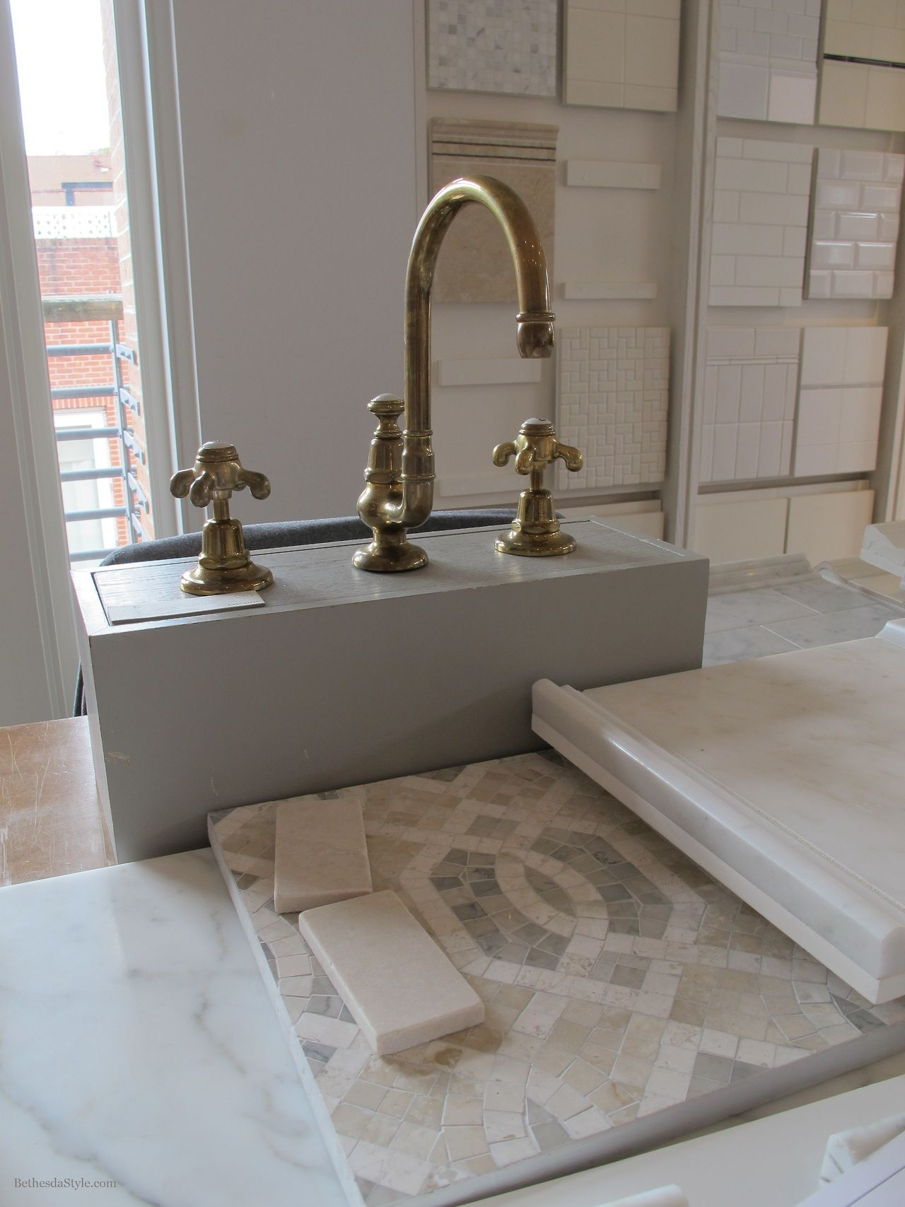 kitchen sink and faucets bethesdastyle master bath tile unlacquered brass 20006