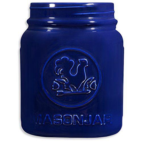 Cobalt blue kitchen accessory - mason jar kitchen utensil crock.  #kitchenutensilcrocktbott #cobaltbluekit