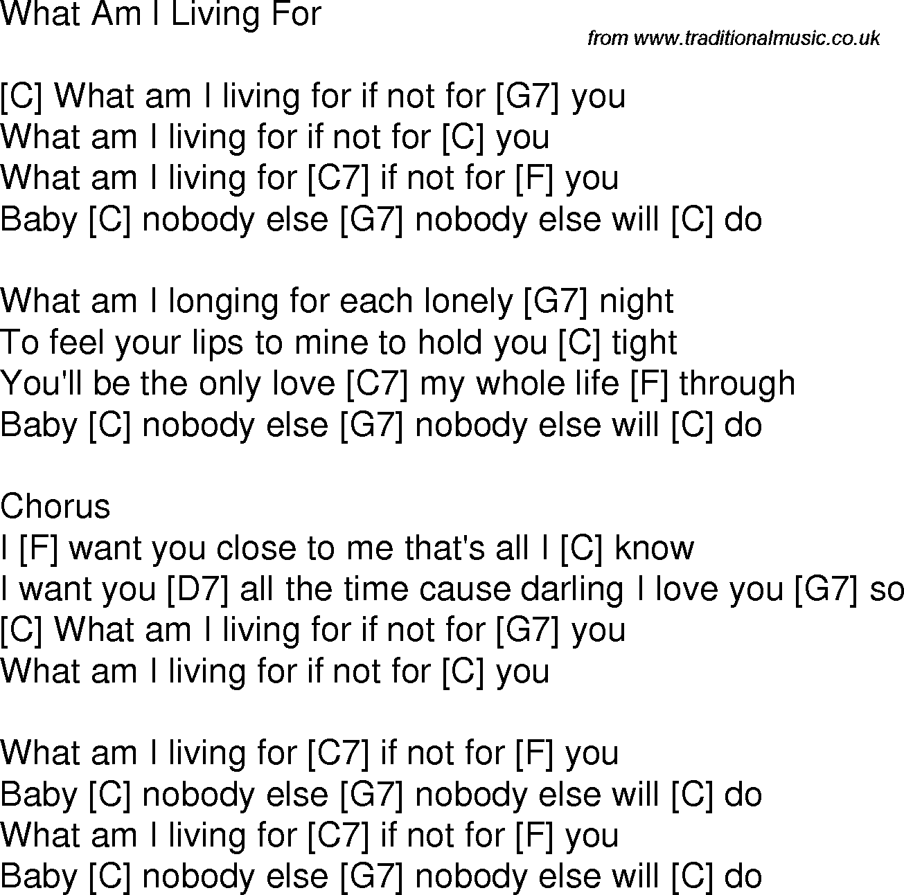 Old Time Song Lyrics With Chords For What Am I Living For C