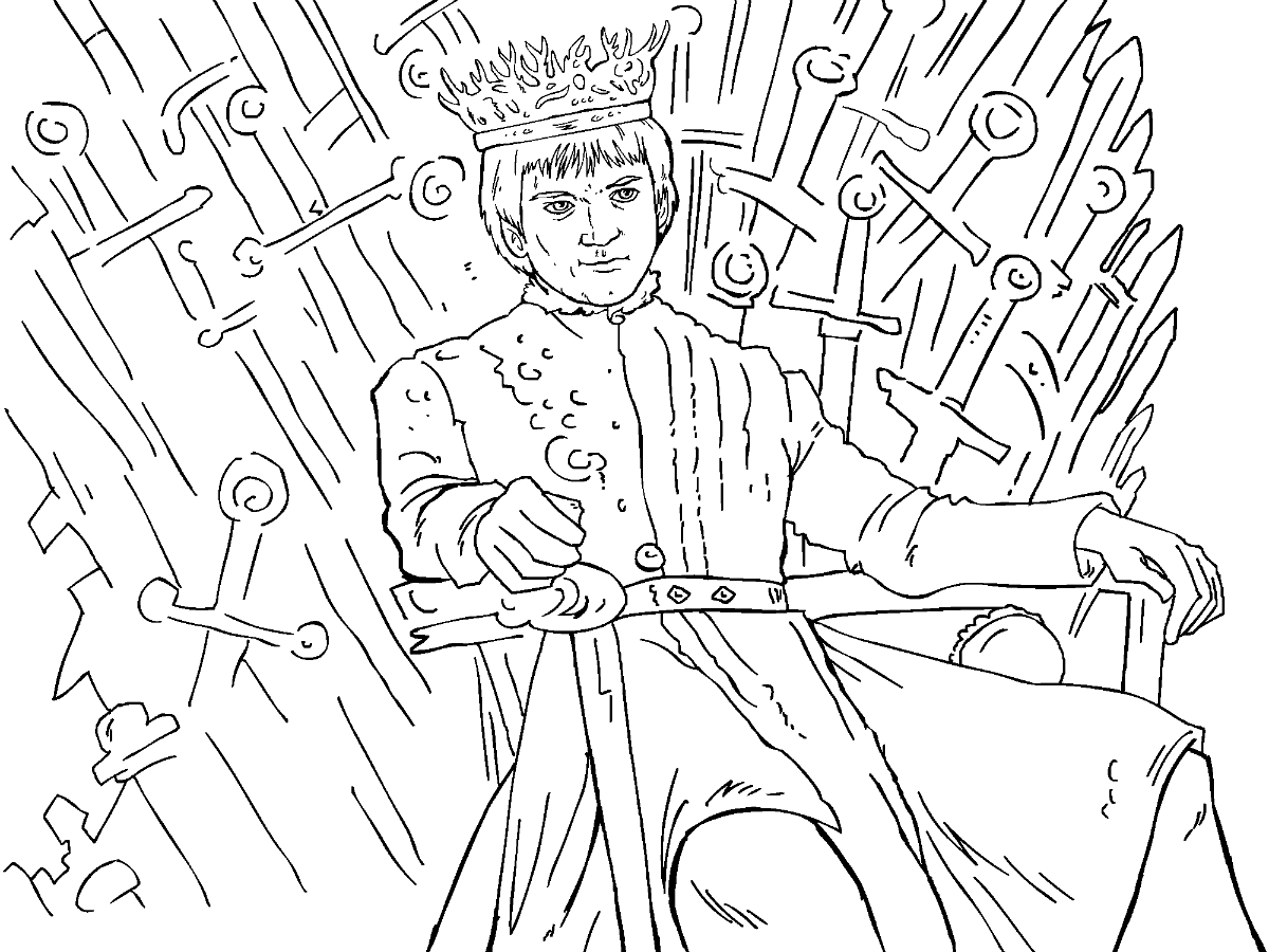 game of thrones colouring in page joffrey - Colouring In Game