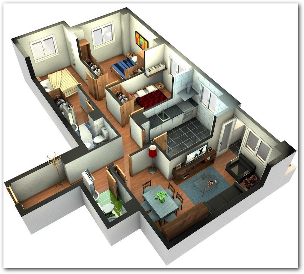 Planos de casas de una planta 2 recamaras buscar con - Planos en 3d de casas ...