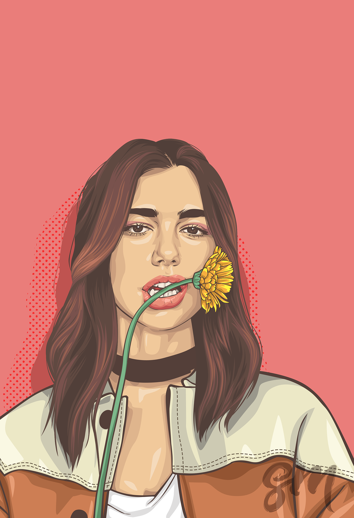 Dua Lipa On Behance Hipster Wallpaper Vector Portrait Illustration Portrait Illustration