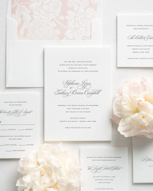 Delicate Elegance Letterpress Wedding Invitations | Pink wedding ...