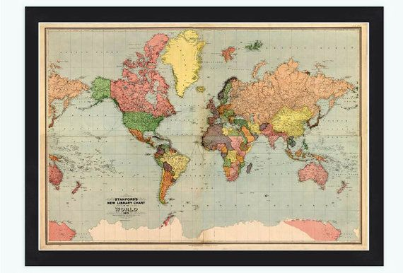 Old World Map Atlas Vintage World Map 1913 Mercator projection on ...