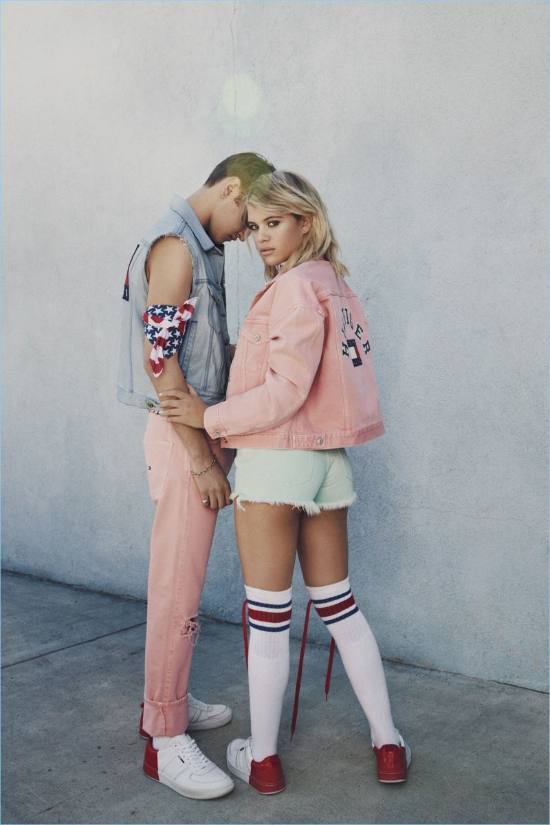 580304cc8 Tommy Jeans taps Anwar Hadid and Sofia Richie for its spring-summer 2017  campaign. Going casual, Anwar wears a Tommy Jeans denim vest with quartz  pink ...