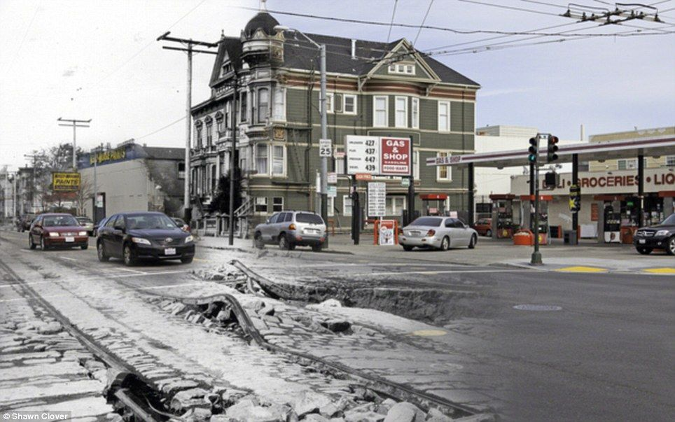 In ruins: Buildings fell, sinkholes in the streets opened up, railroad tracks bent, and collapsing bricks crushed cable cars during the disaster