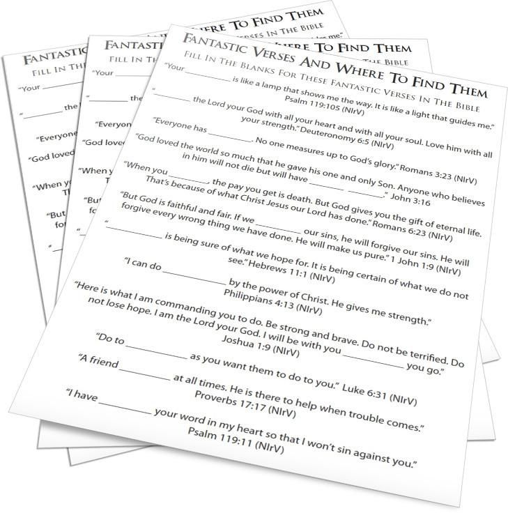 Fantastic Verses Fill In The Blank Kids Church #3 Pinterest - blank resumes to fill in