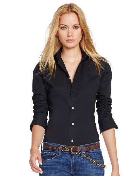 Slim Dress Shirt | Shirt outfit women, Polo shirt outfits, Polo ...