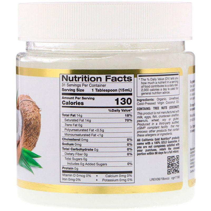 California Gold Nutrition زيت جوز الهند البكر العضوي المعصور على البارد 16 أونصة سائلة 473 مل Organic Virgin Coconut Oil Health Facts Food Coconut