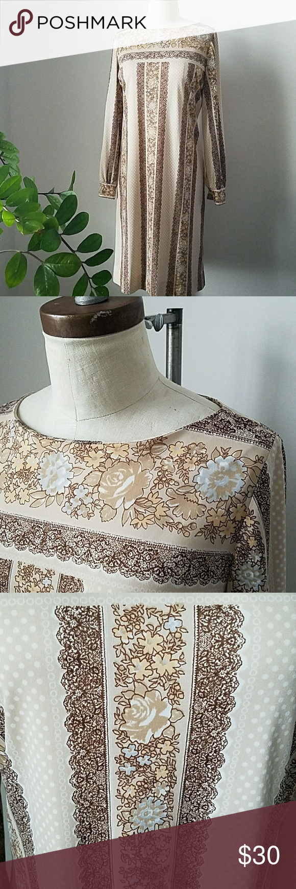 """Vintage 70s Wilroy Traveller Painted Printed Dress Known for that touch of hand feel in their prints, this dress has a floral motif with polka dots in browns  and baby blue. Float silhouette with boat neckline and barrel sleeves with button. Has an opening for a belt but was purchased without. Not lined. Sheerness shown in last pic. Would probably fit a XS/S but recommend you cross reference with a similar garment to ensure fit. Measurements are: Shoulder 14.5"""" Sleeve 34"""" Chest 19"""" Waist…"""